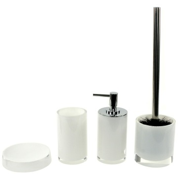 4 Piece White Accessory Set, Free Stand