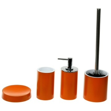 4 Piece Orange Accessory Set, Free Stand