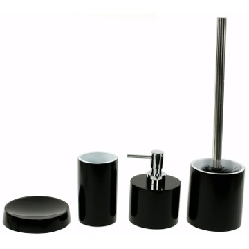 Contemporary 4 Piece Bathroom Accessory Set, Free Stand