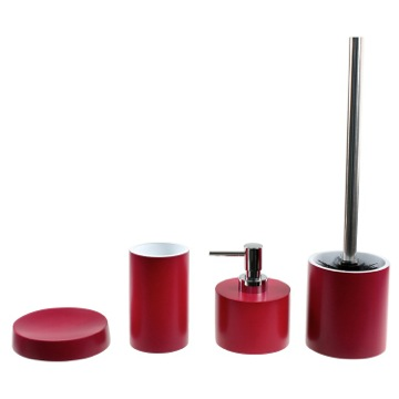 Modern Red 4 Piece Bathroom Accessory Set