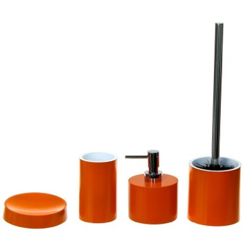 Orange Bathroom Accessory Set With 4 Pieces, Free Stand