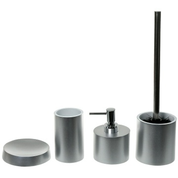Silver Bathroom Accessory Set With 4 Pieces, Free Stand