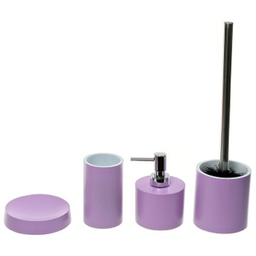 Bathroom Accessory Set In Lilac With 4 Pieces, Free Stand