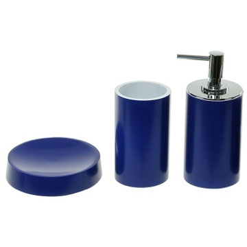 Blue Bathroom Accessory Set With Tall Soap Dispenser