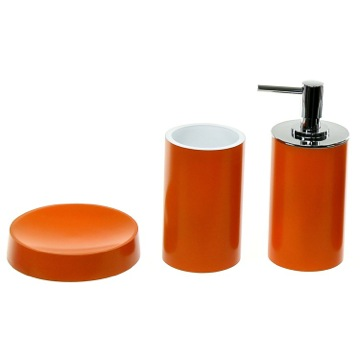 Orange Bathroom Accessory Set With Tall Soap Dispenser