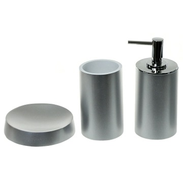 Silver Bathroom Accessory Set With Tall Soap Dispenser