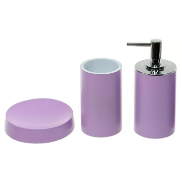 Lilac Bathroom Accessory Set With Tall Soap Dispenser