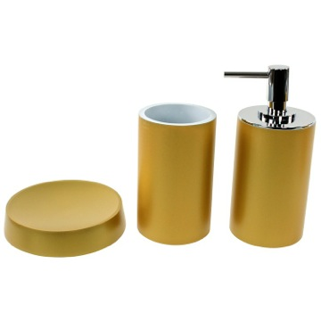 Bathroom Accessory Set with 3 Pieces in Gold, Free Stand