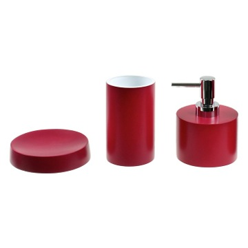 Ruby Red Bathroom Accessory Set With Short Soap Dispenser