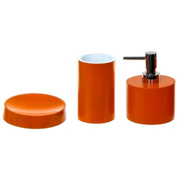 Orange Bathroom Accessory Set With Short Soap Dispenser