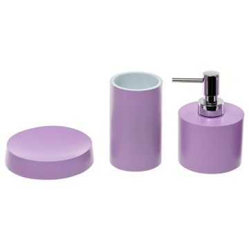 Lilac Bathroom Accessory Set With Short Soap Dispenser