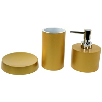 Gold 3 Piece Bathroom Accessory Set, Free Stand