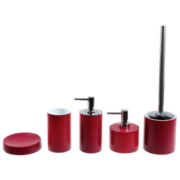 5 Piece Red Bathroom Accessory Set in Ruby Red