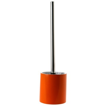 Steel and Orange Free Standing Round Toilet Brush Holder