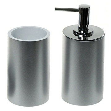 Stylish Silver 2 Piece Bathroom Accessory Set