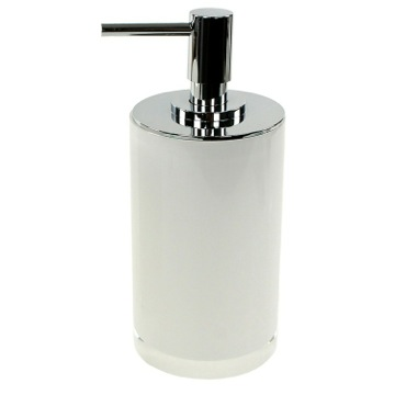 Round White Free Standing Soap Dispenser in Resin