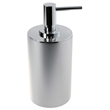 Free Standing Silver Round Soap Dispenser in Resin