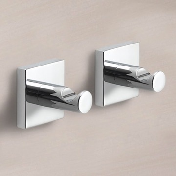 Set of Polished Chrome Bathroom Hooks
