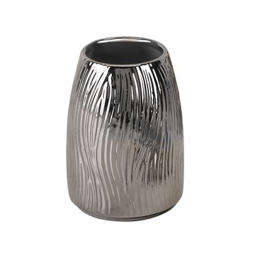 Round Silver Pottery Toothbrush Holder