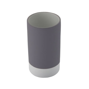 Round Pottery Toothbrush Tumbler Available in Grey Finish