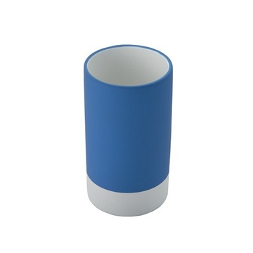 Round Pottery Toothbrush Tumbler Available in Blue Finish