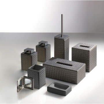 Bathroom Accessory Set, Contemporary, Old Silver, Thermoplastic Resins,Faux Leather, Gedy Marrakech, Gedy 6700S-73