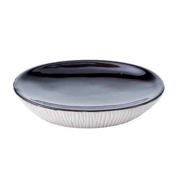 Grey and Black Pottery Soap Dish