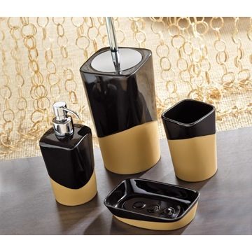 Namibia Black/Mustard Pottery Bathroom Accessory Set