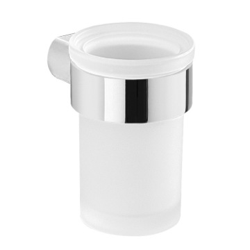 Wall Satin Glass Toothbrush Holder With Chrome Mount