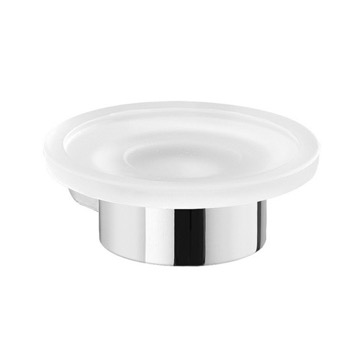 Wall Mount Frosted Glass Soap Dish With Chrome Mount