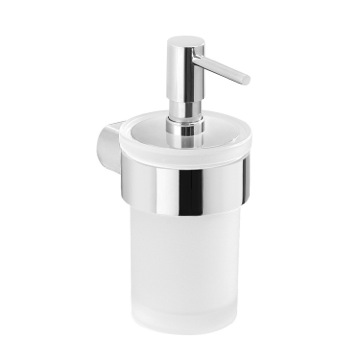 Wall Mount Frosted Glass Soap Dispenser With Chrome Mount