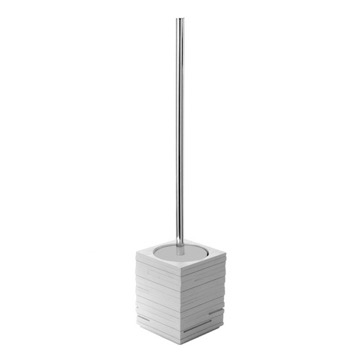 Square Grey Toilet Brush Holder with Chrome Handle