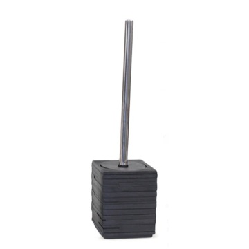 Square Black Toilet Brush Holder with Chrome Handle