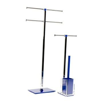 Blue Bathroom Accessory Set in Steel and Thermoplastic Resin