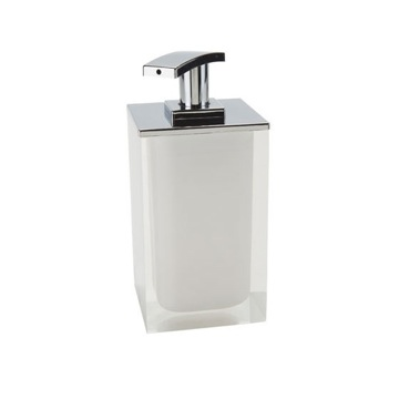 Square Soap Dispenser Made From Resin in White Finish