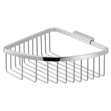 Modern Chromed Stainless Steel Wire Corner Shower Basket