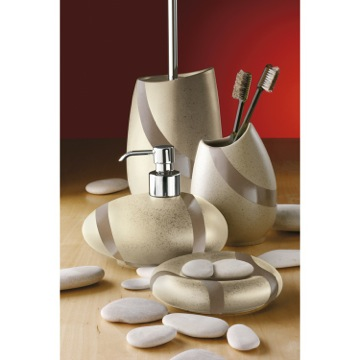 bathroom accessory set contemporary beige pottery brass gedy stone