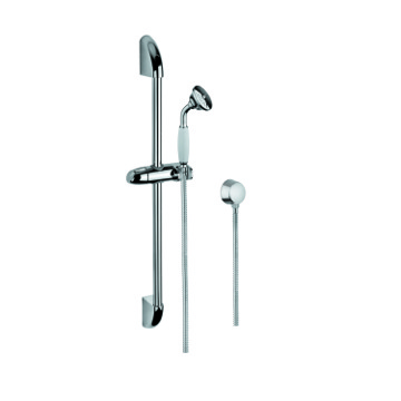 Chrome Shower System with Hand Shower, Water Connection, and Sliding Rail