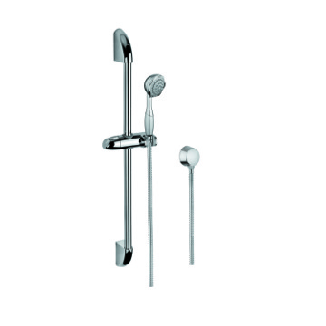 Chrome Shower Solution with Hand Shower, Sliding Rail, and Water Connection