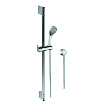 Chrome Sliding Rail, Hand Shower, and Water Connection