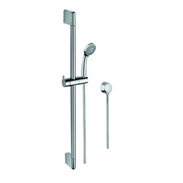 Polished Chrome Hand Shower, Water Connection, and Sliding Rail