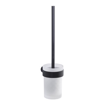 Wall Mounted Frosted Glass Toilet Brush With Matte Black Mount