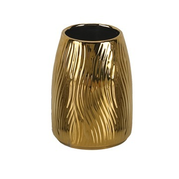 Round Gold Pottery Toothbrush Holder