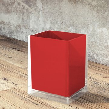 Free Standing Waste Basket With No Cover in Red Finish