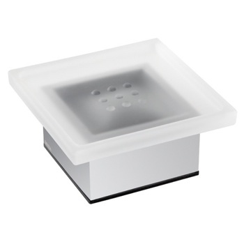 Decorative Free Standing Soap Holder of Frosted Glass