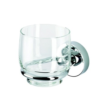 Wall Mounted Clear Glass Tumbler with Chrome Holder
