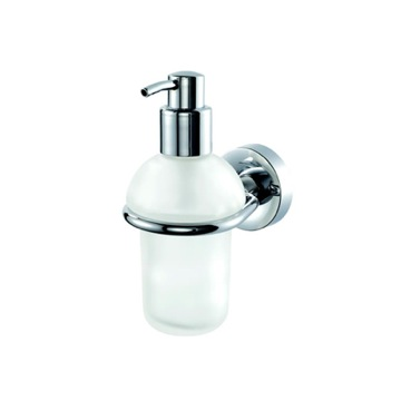 Soap Dispenser Wall Mounted Frosted Glass Soap Dispenser with Chrome Mounting 5516 Geesa 5516