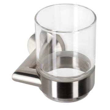 Wall Mounted Glass Tumbler with Stainless Steel Holder