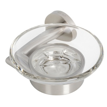 Soap Dish Wall Mounted Frosted Glass Soap Dish with Stainless Steel Holder 6503-05 Geesa 6503-05