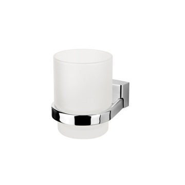 Wall Mounted Glass Bathroom Tumbler with Chrome Holder